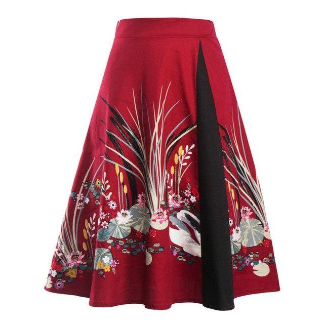 Print Cotton Midi Skirt Women's Casual Vintage Ball Gown Skirt