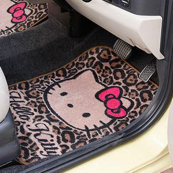 Hello Kitty Leopard print floor mat. Say WHAT?