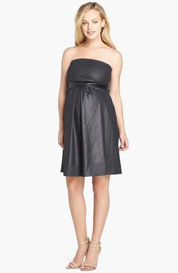Maternal America Strapless Dress Was $158 Now $78.98 Shimmery metallic maternity dress https://api.shopstyle.com/action/apiVisitRetailer?id=437106227&pid=uid841-37799971-81