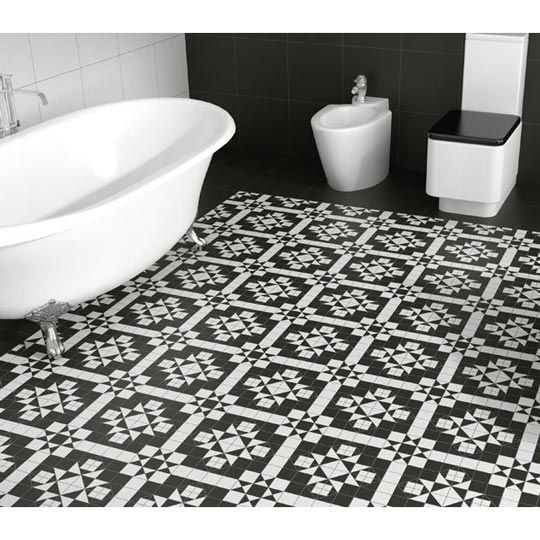 Black And White Ceramic Tile Floor. Blue And Tan Bathroom White ...