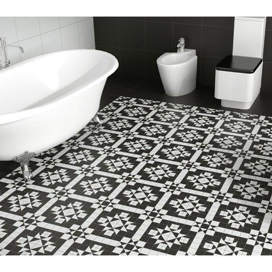 Black And White Patterned Bathroom Floor Tiles : Cm victorian b w mosaic effect floor tile plain