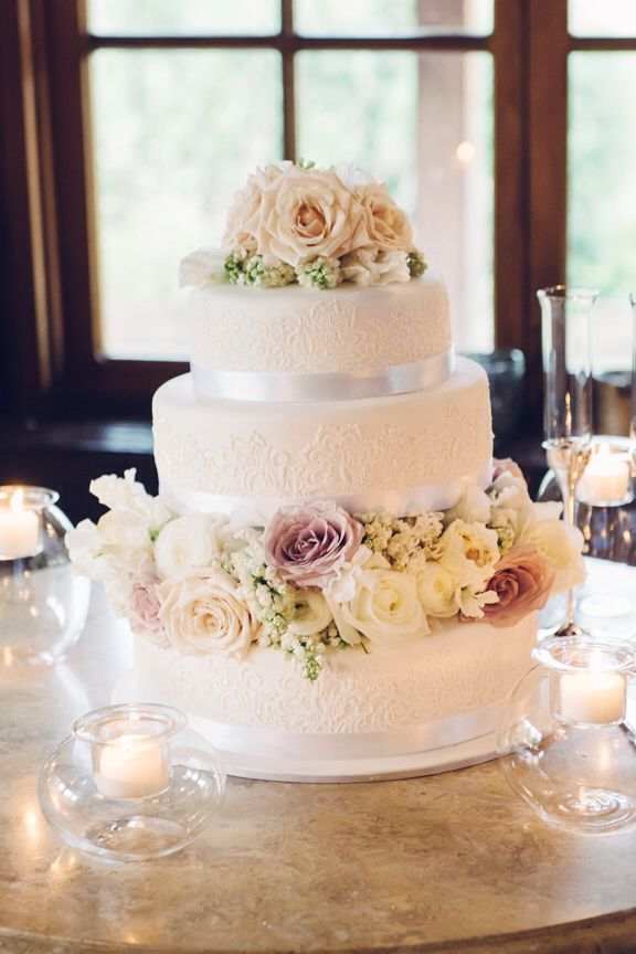 Stunning 3 tier with lace detail & fresh flowers. Cake made by  Michelle-Marie's Kitchen