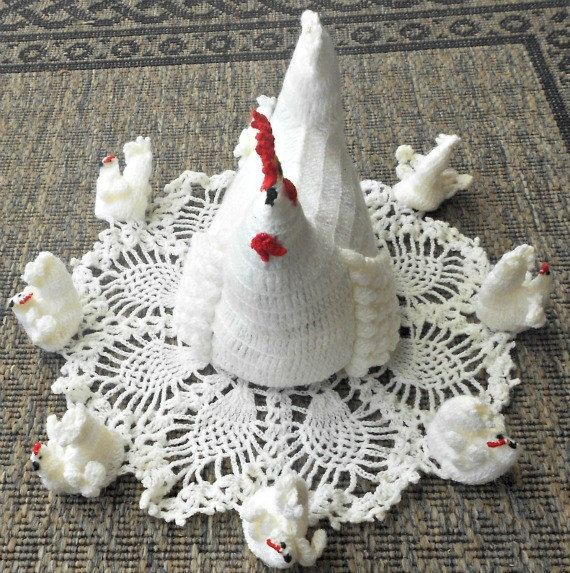 Vintage Beautifully Crocheted White or Yellow Hen with her Chicks nestled on a lovely doilie