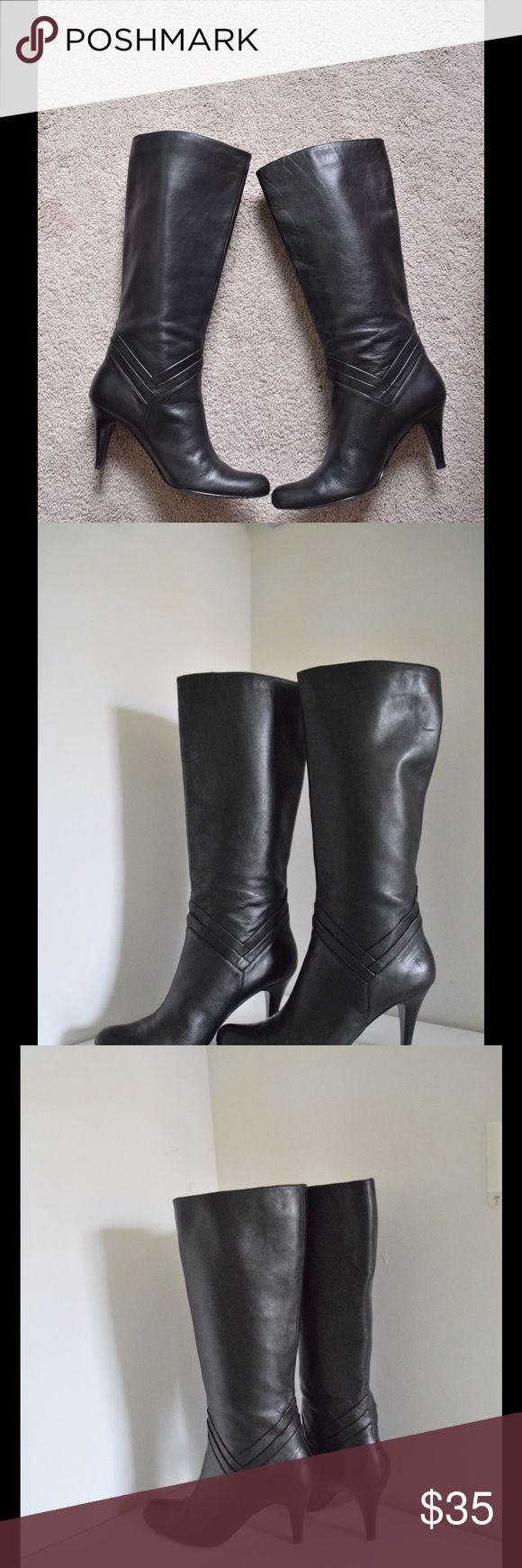 """Star Ling Nordstrom boots Nordstrom Star Ling 'Nigiri' leather boots Beautiful soft black leather tall boots Size 8 1/2. Heels 3"""" Scalloped details  Minor wear to soles (pic). In excellent condition! Star Ling Shoes Winter & Rain Boots"""