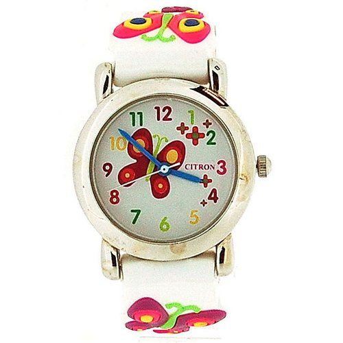 Citron Analogue Girls- Kids Butterfly/Flowers Pink Silicone Strap Watch KID87