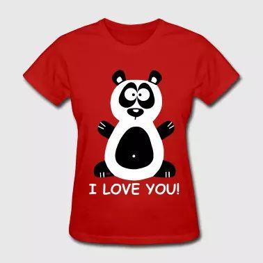 I love you Valentines Day Panda Couples T-.Shirt - Women's T-Shirt
