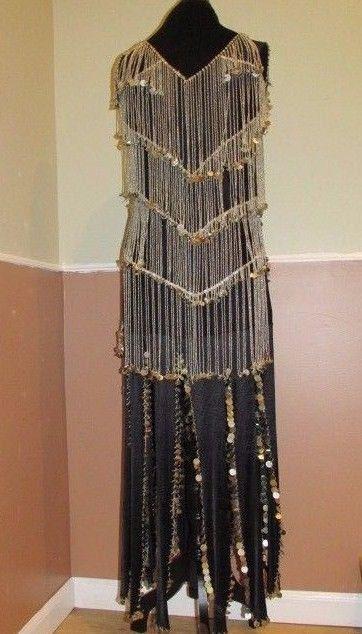 Vintage 20's Style Black Flapper Dress with Silver Fringe Beading   #FlapperFringe #Vintage #dress #Flapperdress #dandeepop Find me at dandeepop.com