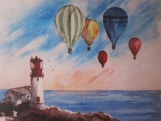 Lindesnes Lighthouse with Hot Air Balloons