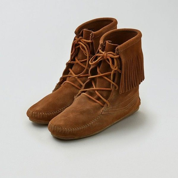 Minnetonka Tramper Bootie ($63) ❤ liked on Polyvore featuring shoes, boots, ankle booties, neutral, ankle boots, suede lace-up boots, lace up ankle booties, taupe booties and lace up boots