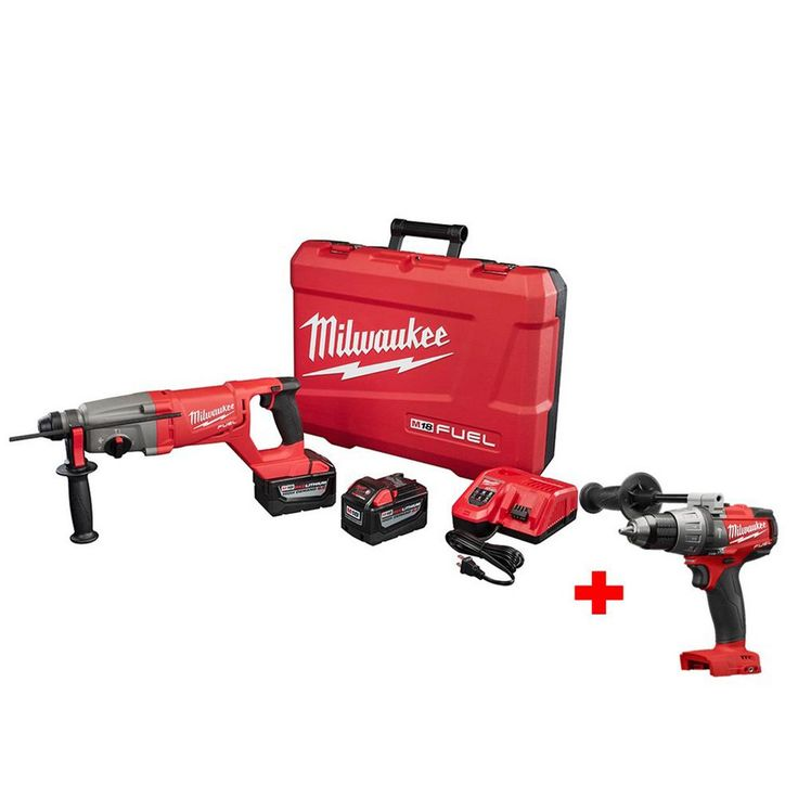 Milwaukee M18 Fuel 18-Volt Lithium-Ion Brushless 1 in. SDS Plus D-Handle Rotary Hammer with Free M18 Fuel 1/2 in. Hammer Drill