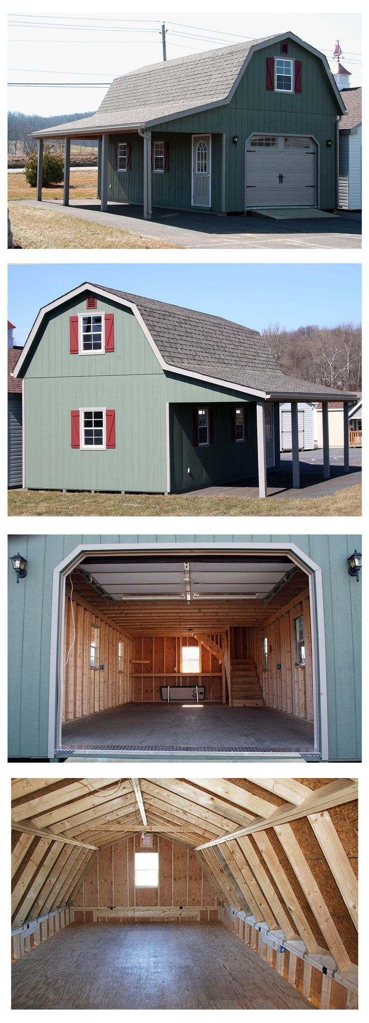 """14 wide x 28 long with an 8 overhang. The gambrel (""""barn style"""") roof maximizes storage space on the upper level. Plenty of room inside - 8 clearance on the lower level. 7&"""