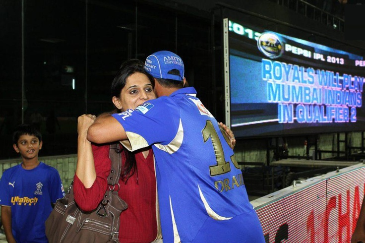 Rajasthan Royals captain Rahul Dravid hugs his wife Vijeta Dravid after Rajasthan Royals beat Sunrisers Hyderabad to advance to Qualifier 2 during the eliminator match of the 2013 Pepsi Indian Premier League between The Rajasthan Royals and the Sunrisers Hyderabad held at the Feroz Shah Kotla Stadium, Delhi on the 22nd May 2013