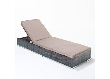 Our Luxe Flat Lounger has an adjustable back so you can lay in multiple positions. It is finished with chrome feet and a thick comfortable cushion.