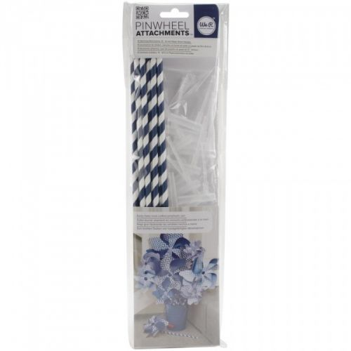 """WE R MEMORY KEEPERS - PINWHEEL ATTACHMENT - NAVY Pakke med håndtak tilPINWHEEL - """"VINDSNURRER"""" fra WE R MEMORY KEEPERS.Inneholder 10 stk fotte papir sugerør med 10 stk spinner til å feste som håndtak. WE R MEMORY KEEPERS-Pinwheel Attachments. Easily make hand crafted pinwheels spin. Perfect for use with the pinwheel punch board (sold separately). This package contains ten spinning attachments and ten 15 inch long paper straw handles.  These attachments are designed to allow pi..."""