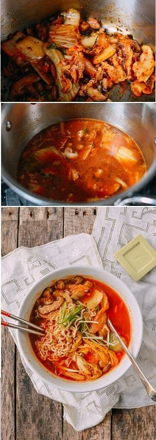 "Quick and Easy Kimchi Ramen recipe by the Woks of Life. [""Repinned by Keva xo""]"