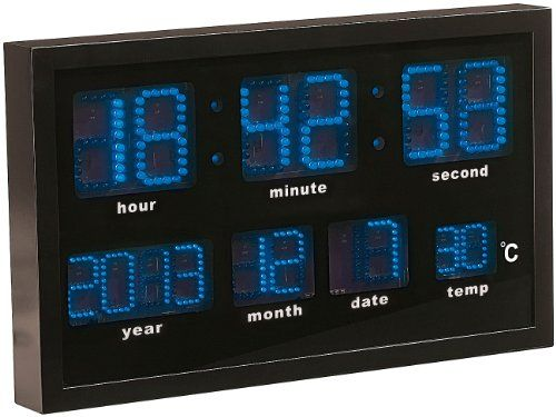 Lunartec Multi-LED-Funk-Uhr mit Datum und Temperatur, 412 blaue LEDs - http://uhr.haus/lunartec/lunartec-multi-led-funk-uhr-mit-datum-und-412-blaue