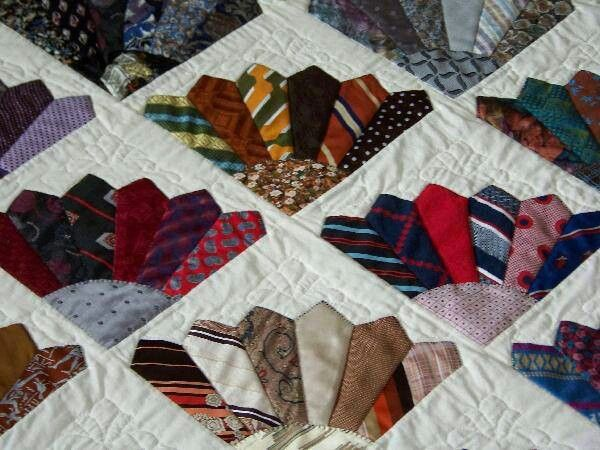 Awesome tie quilt - I love the scalloped look it creates!