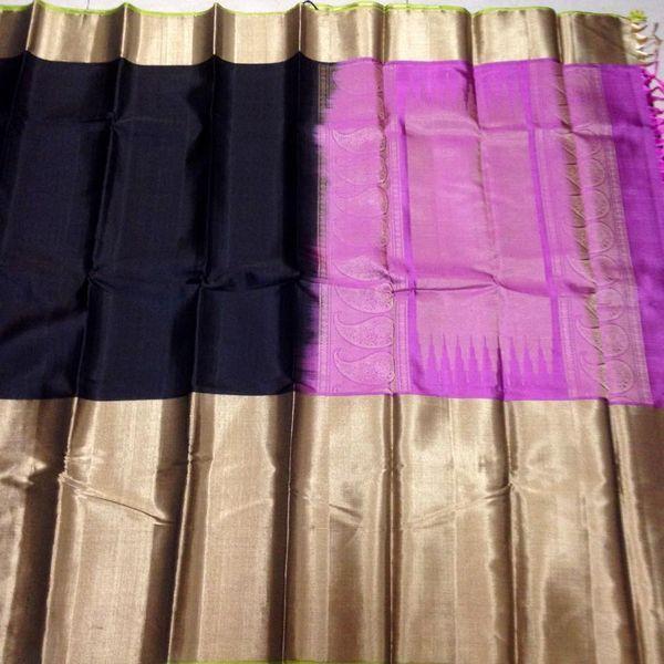 Buy KSS5500014-THAMBOORI's Handwoven Kanchivaram Long border-Black beauty, 850g online - Handwoven Kanchivarams,Soft Silks, Silk Cottons and Tussars!