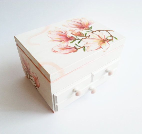 Custom order personalized jewelry box with mirror and drawers gift idea shabby chic beautiful pink gift idea for her vintage custom colors
