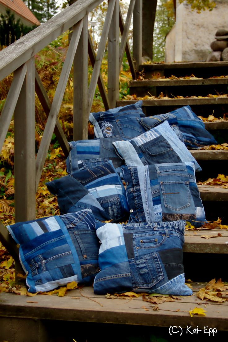 Denim pillow denim quilt Pillow from old jeans