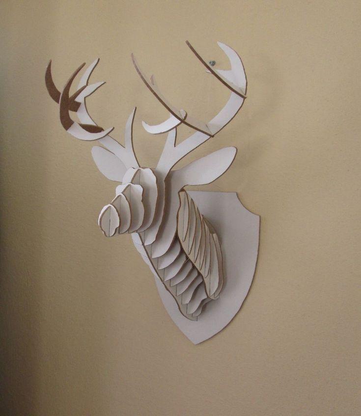 25 b sta id erna om cardboard deer heads p pinterest - Cardboard stag head ...