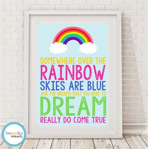 Somewhere Over The Rainbow Print by Bespoke Moments. Worldwide Shipping Available.