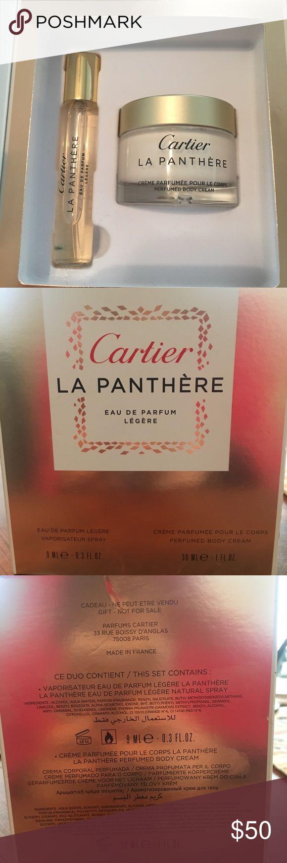 NWOT - Cartier La Panthère Eau De Parfum Cartier La Panthère Eau De Parfum Légère - with perfume and lotion! Unused, box has slight signs of wear. Perfect Holiday gift!  Vaporisateur Spray = 9ml Body Lotion = 30ml Cartier Other