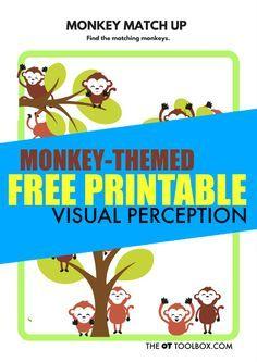 Free visual perception worksheet monkey theme activity for kids