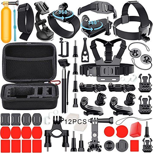 Leknes Essentials Accessories Kit For Gopro Hero 5 4 3 Hero Session Action Camera Mounts For Most Sports Camera In Parachuting Diving Surfing Rowing Running Cycling Camping With Case