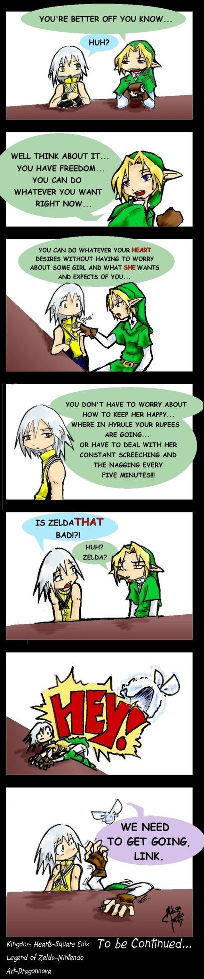 Poor Link... But he's so outspoken in this one. It's.. weird. LoL, Riku help him!