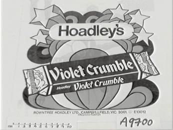 """A9700 """"Violet Crumble"""" showbag. Royal Easter Show, Sydney, Australia.(OF). - Powerhouse Museum Collection"""