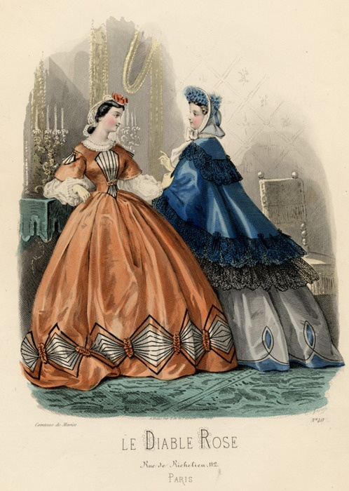 Day and walking dresses, 1860's France, Le Diable Rose