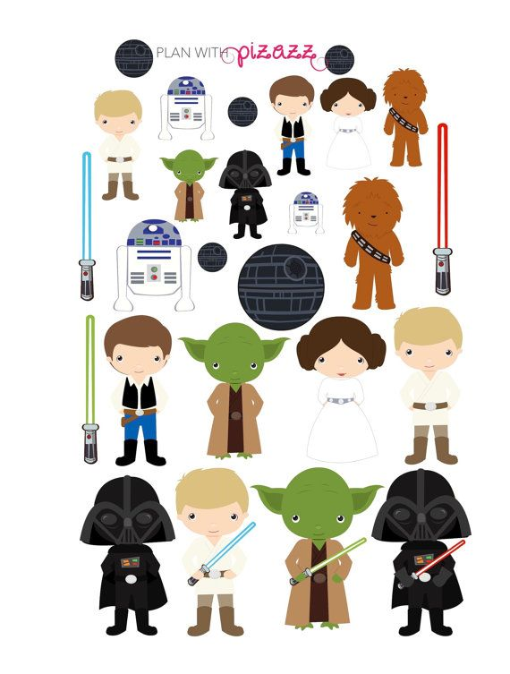 You will receive one sheet of matte finish die cut stickers. This sheet includes super cute STAR WARS Inspired DECO stickers!  These stickers fit