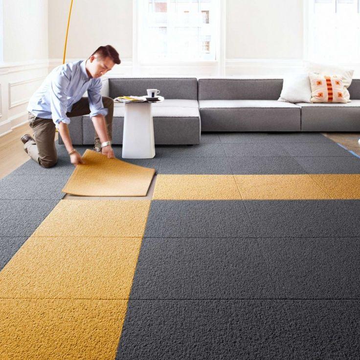 Modular Carpet Tiles For Contemporary, Using Carpet Tiles Living Room