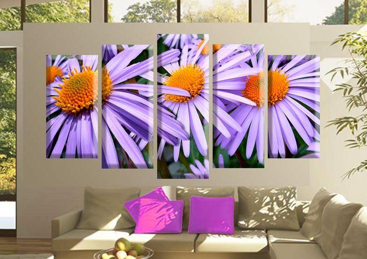 Tablouri aster 5764 Dimensiuni: 2x 25x50 - 2x 25x60 - 1x 25x70 cm Total: 125x70 cm