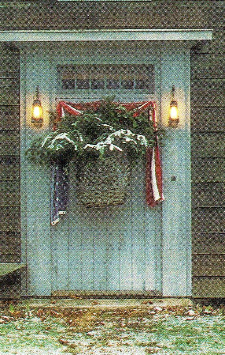 Primitive Door \u0026 Lanterns...with old basket of snowy pine \u0026 draped flag & 72 best front door images on Pinterest | Entrance doors Front doors ...