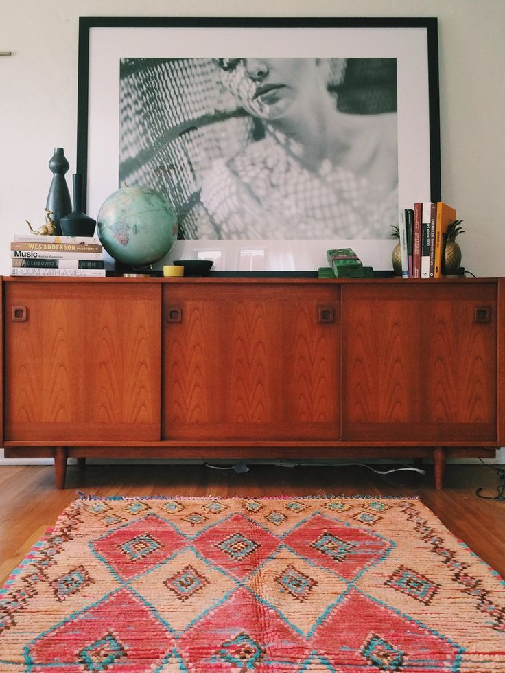boucherouite carpet // vintage azilal berber from morocco // midcentury credenza