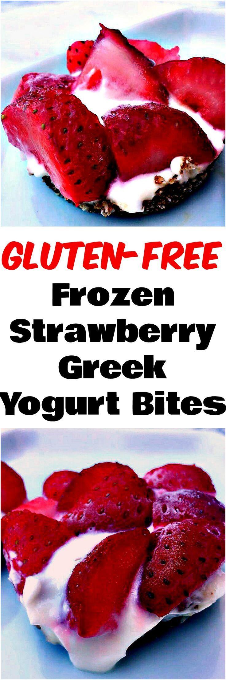 Gluten-Free Frozen Strawberry Greek Yogurt Bites make the perfect quick and easy low-calorie strawberry dessert.