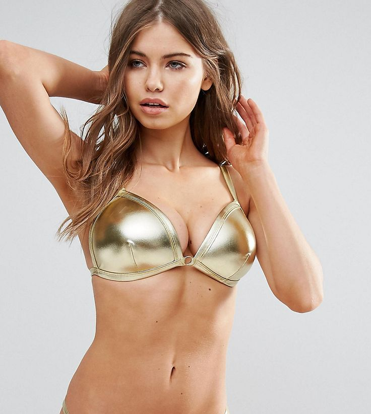 Wolf & Whistle Gold Triangle Bikini Top B-F Cup - Gold