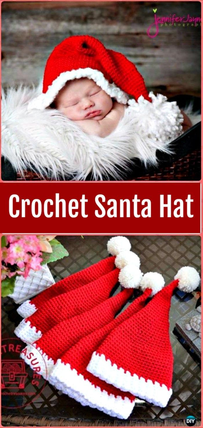 A collection of #Crochet #Christmas #Hat Gifts Free Patterns. Crochet Gifts for holidays with festive red, green and white, and a festive hat design.