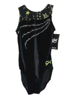 GK Elite Gymnastics Leotard - Black Velvet - AS Adult Small NEW