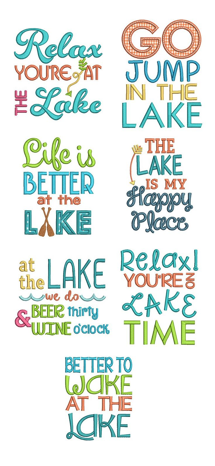 Available in a range of different colour designs instant downloadable - Lakeside Sayings Design Set Is Available For Instant Download At Designsbyjuju Com