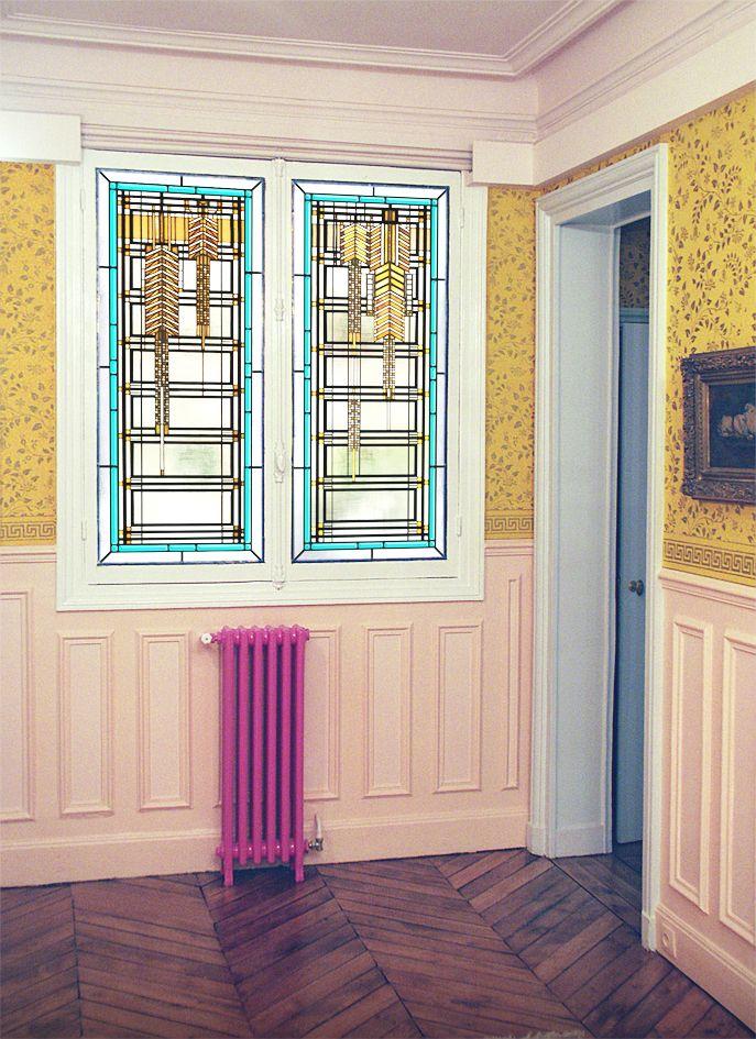 Fenêtre Art Deco - Verre Thela avec films couleur et gélatines texturées - Montage sur DV existant par collage silicone - Honky Tonk Vitrail
