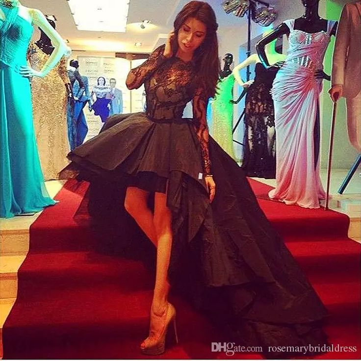 Long Sleeves High Collar Sexy Short Front Long Back Prom Dresses 2016 Custom Made High Low Lace Taffeta Tulle Prom Gown Dress For Party Prom Long Dresses Punk Prom Dresses From Rosemarybridaldress, $120.61| Dhgate.Com