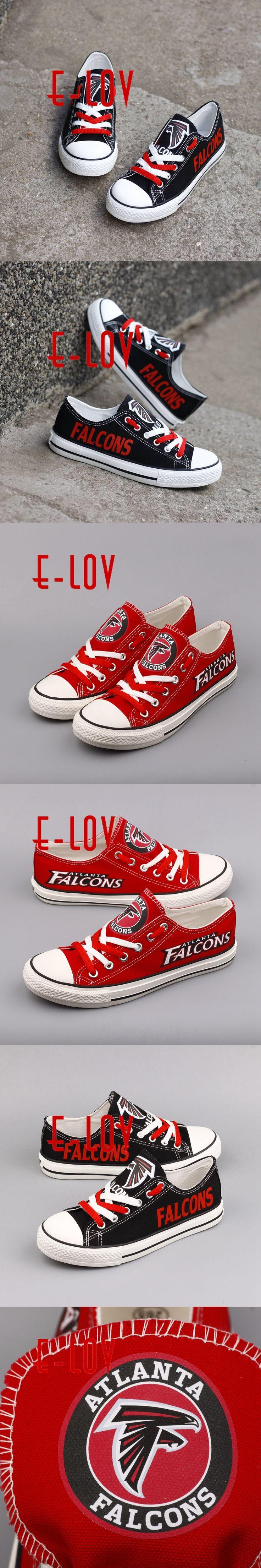 High Quality Atlanta Falcons Football Team Print Casual Shoes Black Red White Logo Cavans Shoes Custom Any Styles Teams