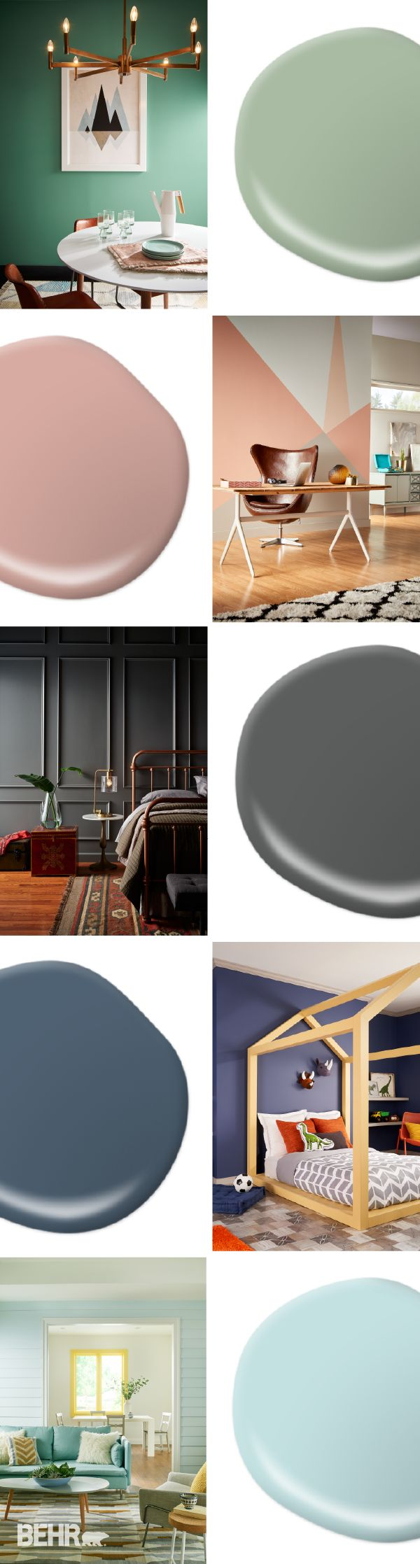 The 2017 BEHR Color Trends are here to solve all your design dilemmas. If you're wondering what shade to paint your sunroom, check out Peek a Blue for a beachy feel. Try opting for Shades On as a chic slate gray that will give your space an updated and sophisticated vibe.