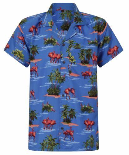 LOUD-MENS-HAWAIIAN-SHIRT-FLAMINGO-ALOHA-HAWAII-HOLIDAY-PARROT-STAG-BEER-S-XXL-UK