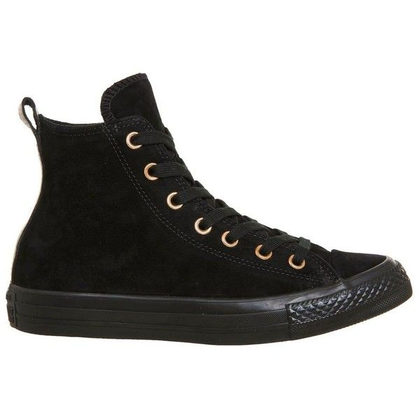 Converse supplied by Office Converse All Star Hi Leather Trainers ($94) ❤ liked on Polyvore featuring shoes, sneakers, black, black trainers, black leather sneakers, black leather shoes, lace up sneakers and black shoes