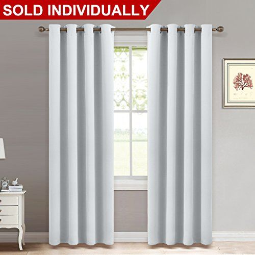 Room Darkening Curtain Window Panel - (Greyish White/ Silver Grey Color) Solid Thermal Insulated Drape / Drapery for Bedroom by NICETOWN ,52x95-Inch, One Pack.