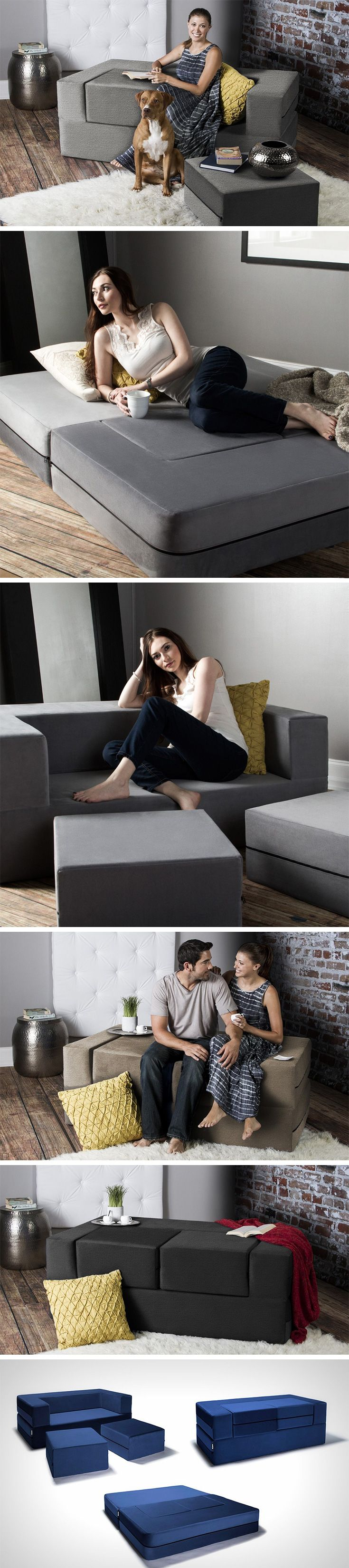 The Zipline Loveseat's design makes it fit into any household. It comes in four separate parts that when put together, can be turned into either a bed, or a sofa, or even a divan. Separate elements can be used individually too!